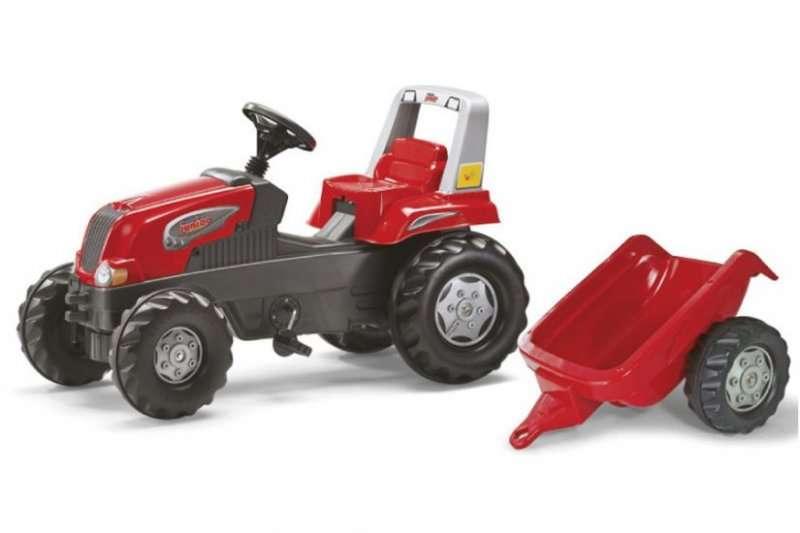 Rolly Toys Šlapací traktor Rolly Junior s vlečkou - červený