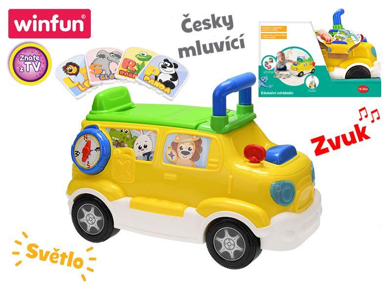 Mikro Trading Auto edukační/odrážedlo 42x22x30 česky mluvící na baterie se světlem a zvukem 18m+ v krabičce Win Fun