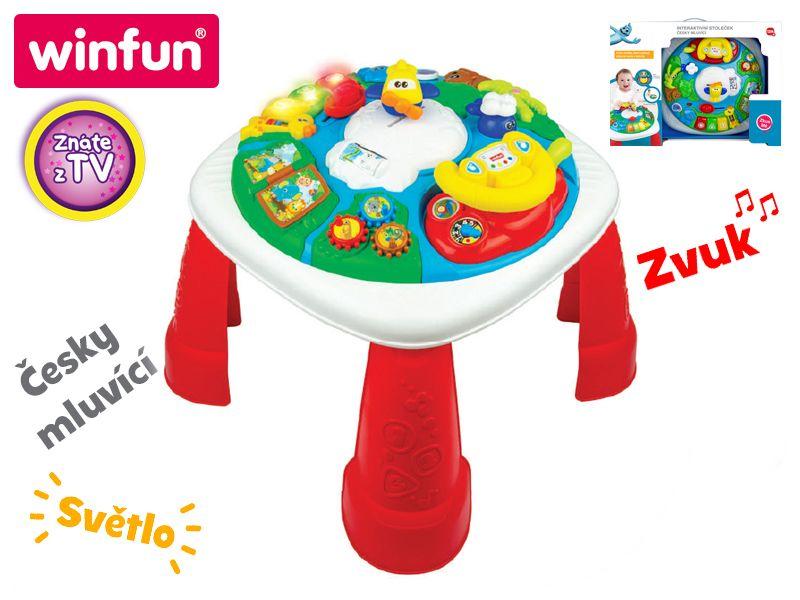 Mikro Trading Interaktivní stoleček česky mluvící na baterie se světlem a zvukem 12m+ v krabičce Win Fun