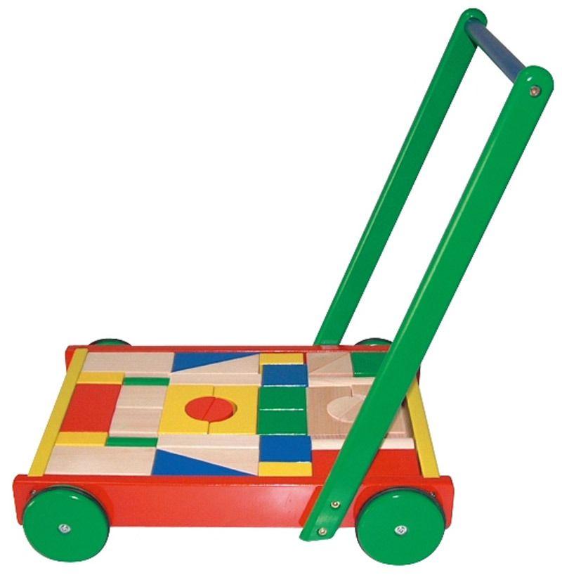 Alltoys Vozík dřevěný velký s kostkami All Toys