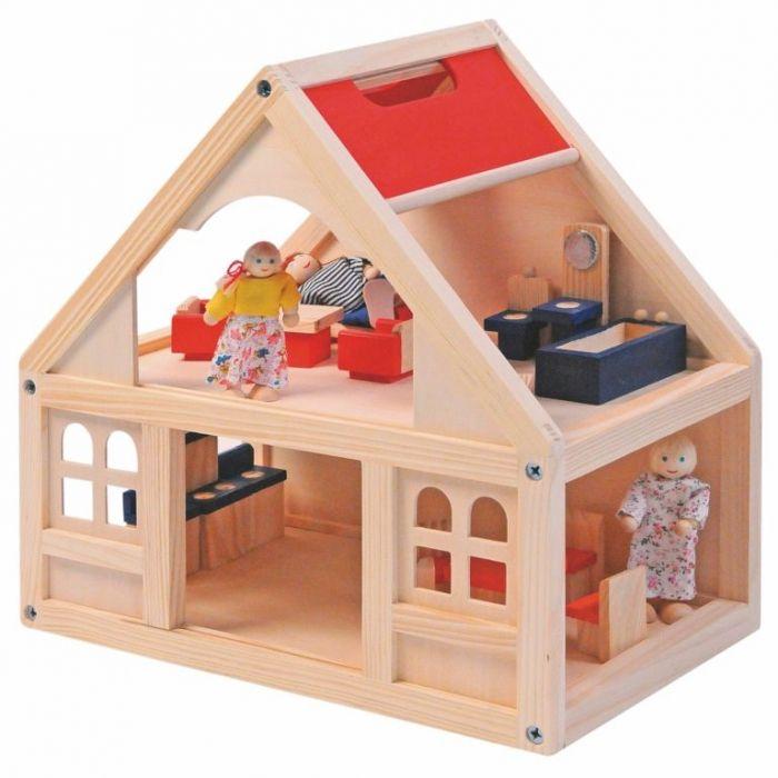 Woody dřevěný Domeček pro panenky s příslušenstvím