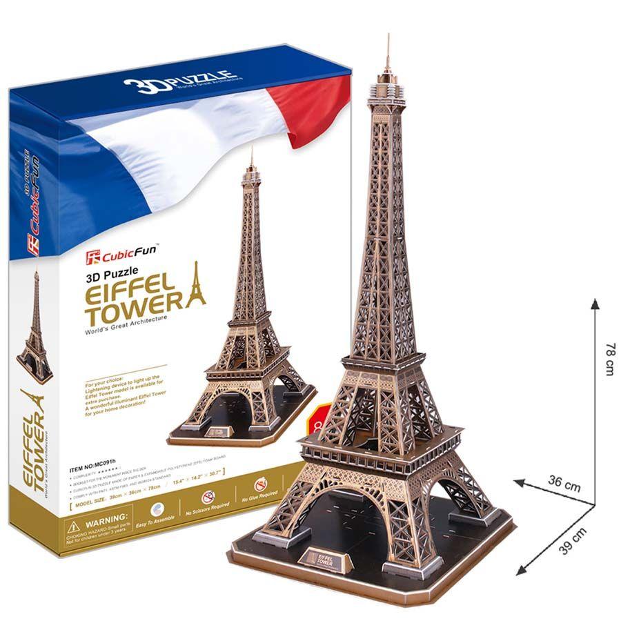 3D Puzzle Eiffelova věž - Eiffel Tower - 82 dílků CubicFun