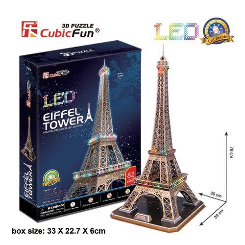 3D Puzzle Eiffelova věž svítící LED - Eiffel Tower - 82 dílků CubicFun