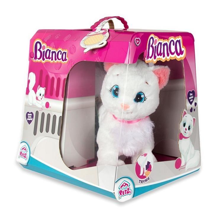Kočka Bianca mluvící hýbající se plyš 25cm na baterie v krabici Cobi