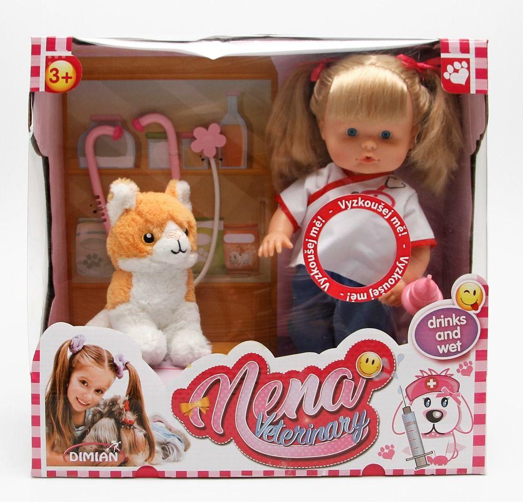 Alltoys Panenka Nena veterinářka s kočičkou 36cm mluví 50 slov CZ na baterie set s pejskem a doplňky All Toys